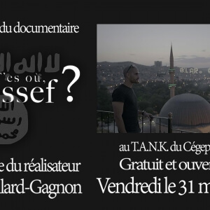 T'es où Youssef?, le journaliste Raed Hammoud tente de retrouver son ami du cégep Youssef, parti faire le djihad aux côtés de l'armée de l'État islamique.<br />
