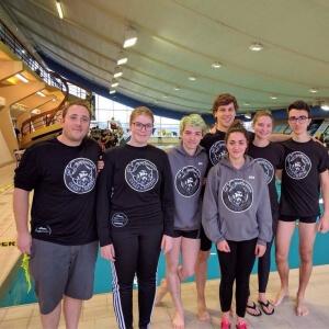 Équipe de natation collégiale des Capitaines du Cégep de Matane.<br />Crédit Photo: Facebook du club de natation Nautilus de Matane