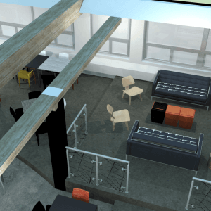 Vue 3D du projet de transformation du salon étudiant Tank-à-y-Être.<br />Crédit Photo: Sarah Péloquin