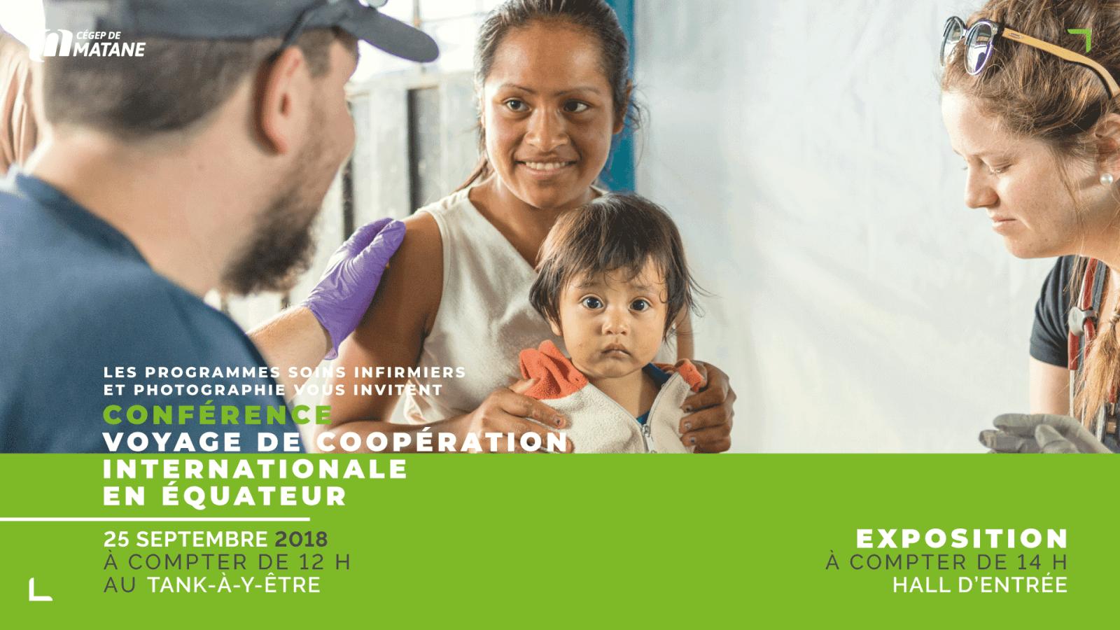 Voyage de coopération humanitaire réalisé en Équateur en juin 2018 – Les programmes Soins infirmiers et Photographie vous invitent à une conférence et à une exposition photo et vidéo