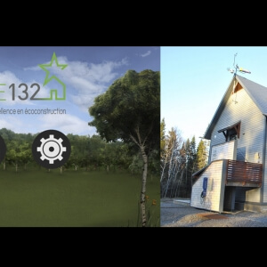 Application « ERE 132 - Bâtir, c'est choisir » et photographie de la maison ERE132.<br />Source : Sylvain Legris