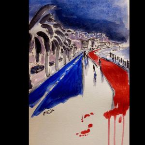 Attentat de Nice du 14 juillet 2016 représenté par l'artiste Mesia<br />Source : Mesia (Partagée sur @LeMondefr)