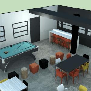 Vue 3D du projet de transformation du salon étudiant Tank-à-y-Être.<br />Source : Sarah Péloquin