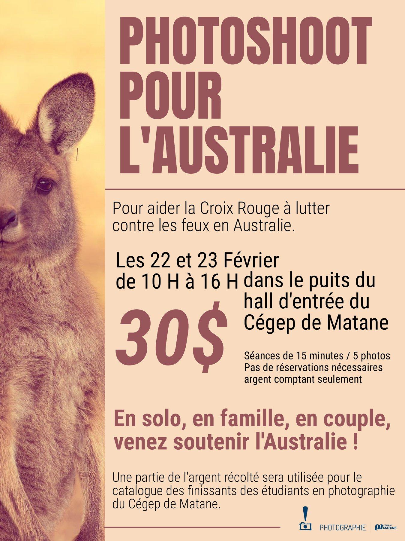 affiche pour photoshoot pour l'Australie