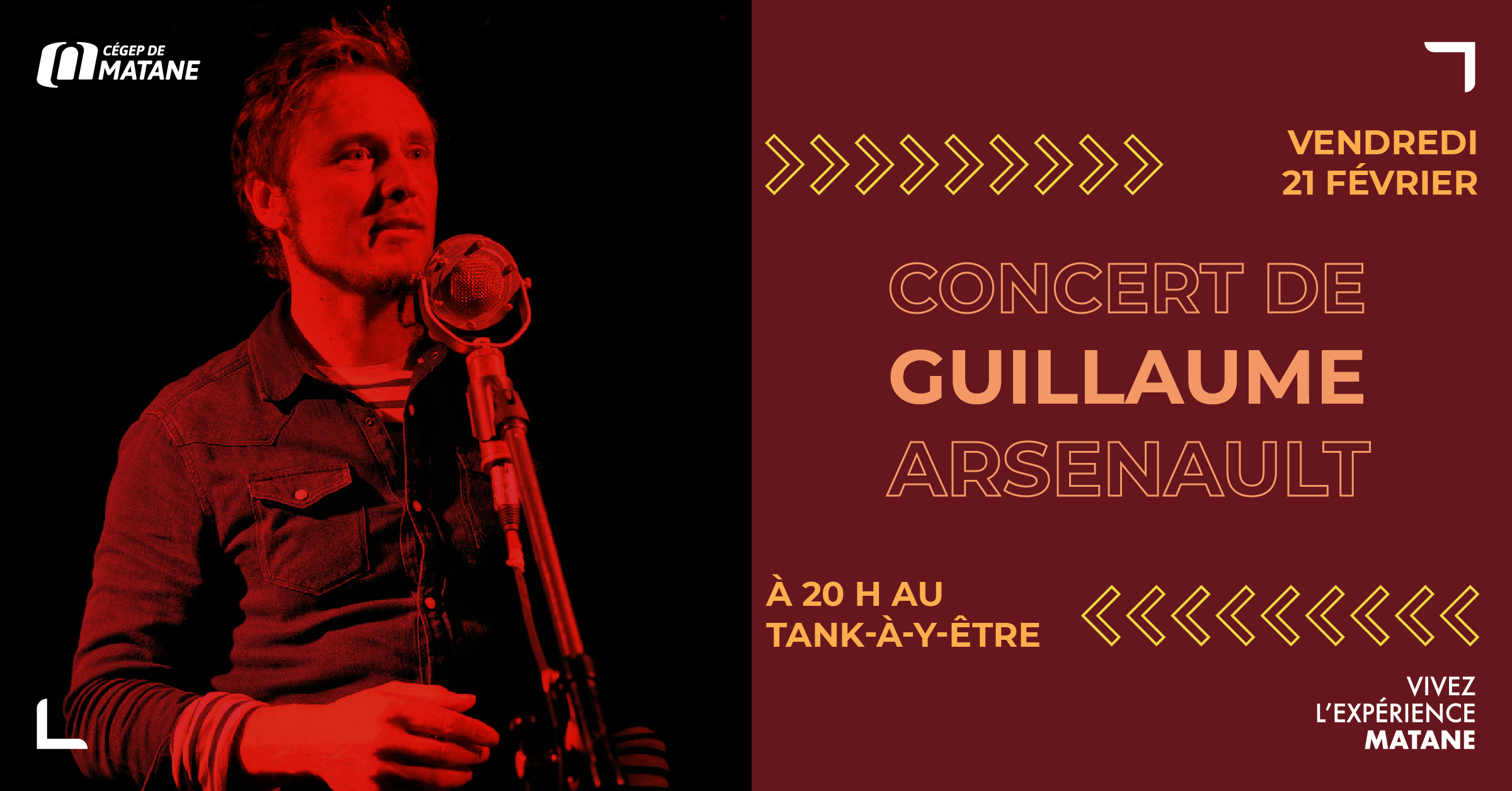 Spectacle de l'auteur-compositeur-interprète Guillaume Arsenault