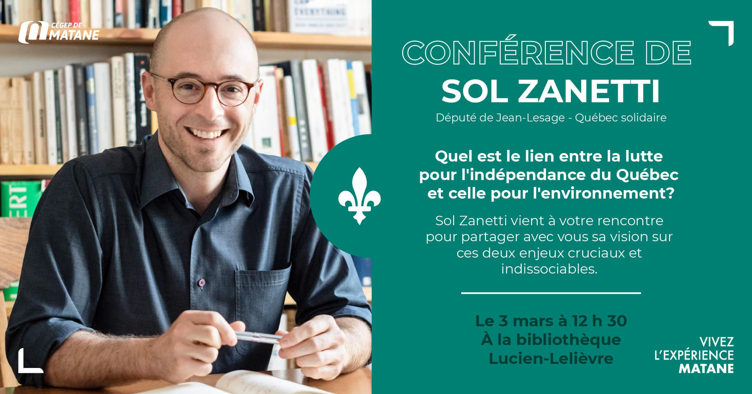 Affiche pour la conférence de Sol Zanetti