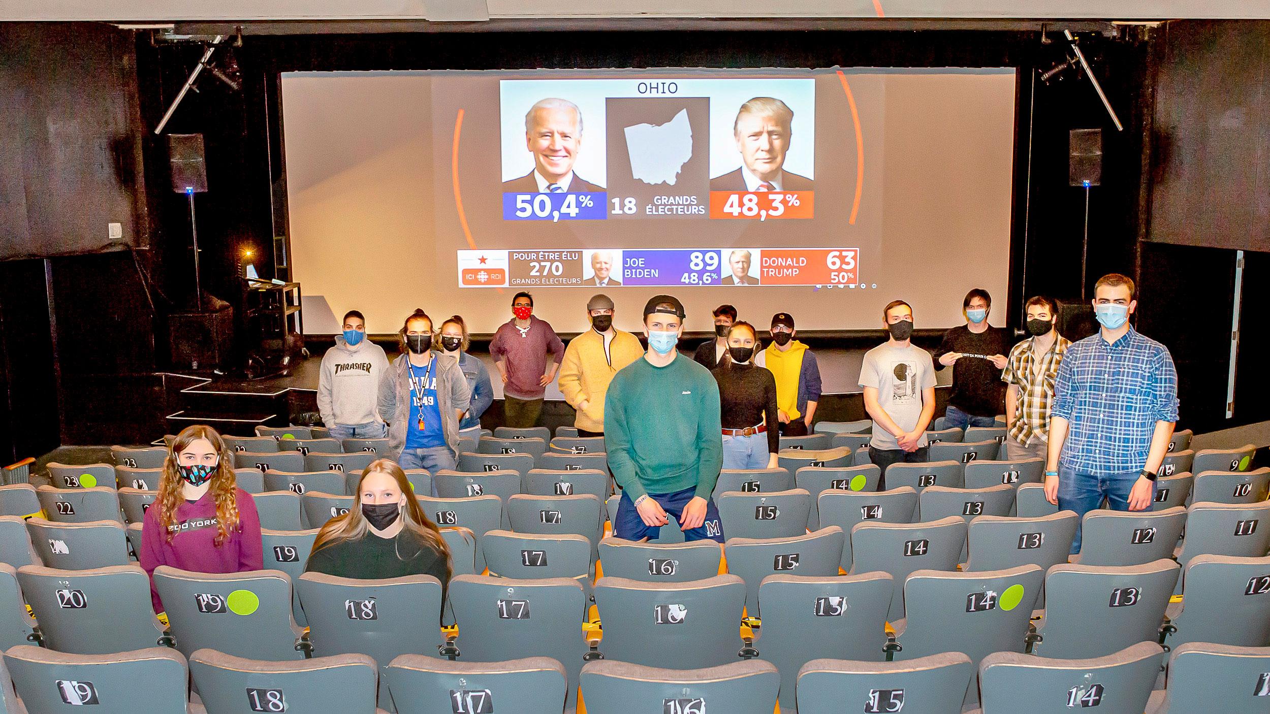 étudiants ayant participé à la soirée electorale