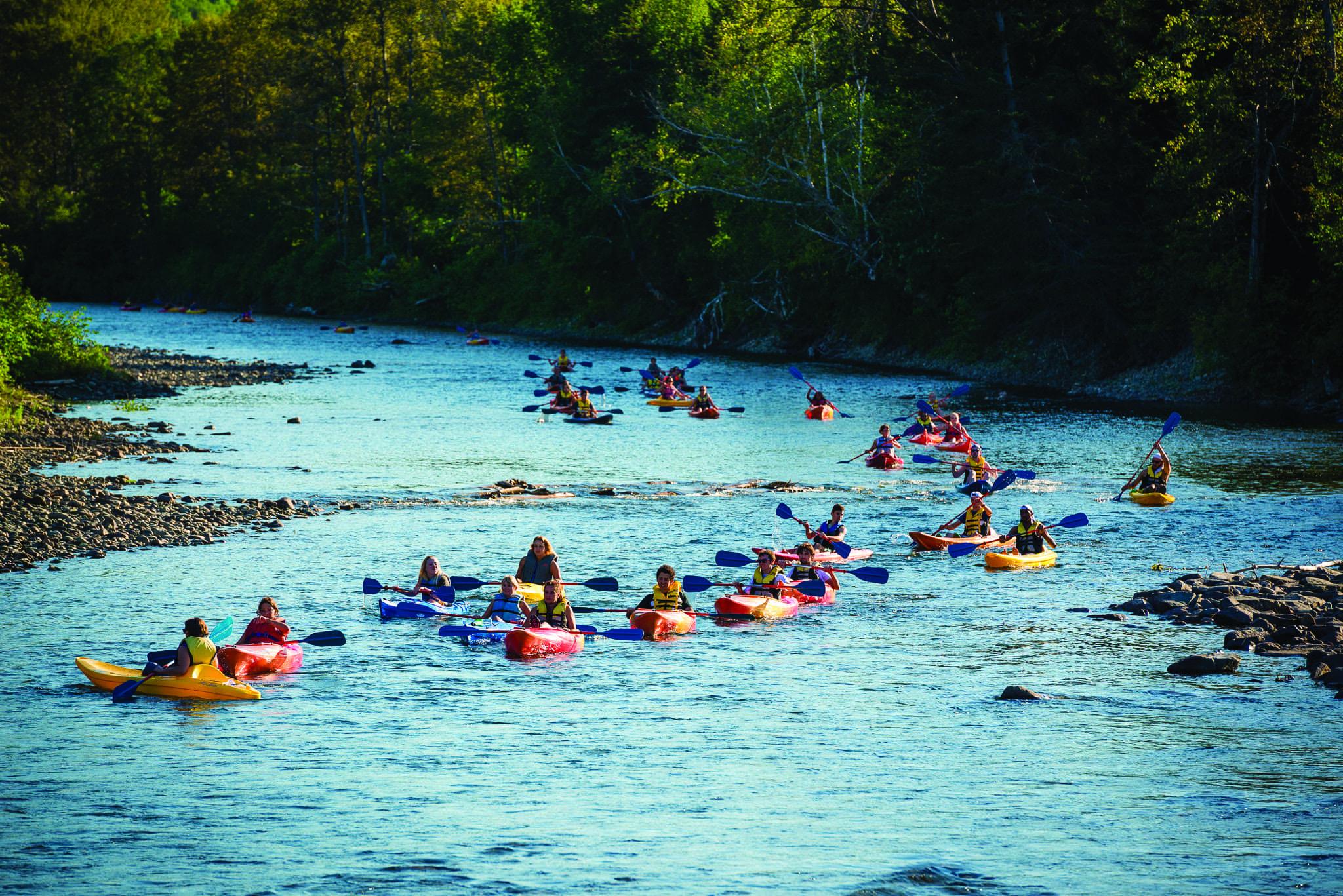 Étudiants effectuant la descente de la rivière Cap-Chat en kayak.